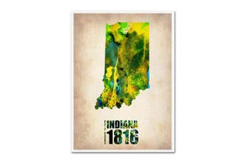 (46cm  by 60cm ) - Indiana Watercolour Map by Naxart, 46cm by 60cm Canvas Wall Art