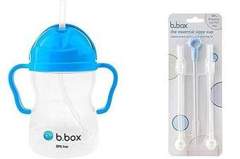 (Cobalt) - B. Box Essential Sippy Cup - with Replacement Straws and Cleaner (Cobalt)