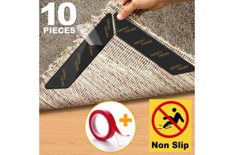 (180*30mm) - Rug Gripper, 10pcs Anti Curling Rug Gripper for Wooden Floors, Large Size Carpet Sticker Anti Slip Rug Underlay to keep your Rug in Places & Makes Corners Flat, Reusable Rug Tape, Non Slip Rug Grip