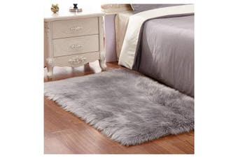 (Grey, 60 x 90 cm) - JINXIULL Faux Fur Rug Soft Fluffy Rug 60 x 90 cm Shaggy Rugs Faux Sheepskin Area Rugs Floor Carpets for Bedrooms Living Room Kids Rooms Decor (Grey)