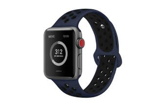(38mm S/M, Obsidian/Black) - AdMaster Compatible for Apple Watch Bands 38mm 42mm,Soft Silicone Replacement Wristband for iWatch Apple Watch Series 1/2/3