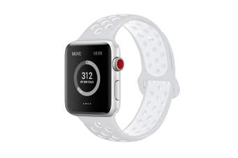 (42mm S/M, Pure Platinum/White) - AdMaster Compatible for Apple Watch Bands 38mm 42mm,Soft Silicone Replacement Wristband for iWatch Apple Watch Series 1/2/3