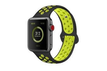 (38mm M/L, Black/Volt) - AdMaster Compatible for Apple Watch Bands 38mm 42mm,Soft Silicone Replacement Wristband for iWatch Apple Watch Series 1/2/3