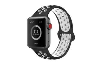 (42mm S/M, Black/White) - AdMaster Compatible for Apple Watch Bands 38mm 42mm,Soft Silicone Replacement Wristband for iWatch Apple Watch Series 1/2/3