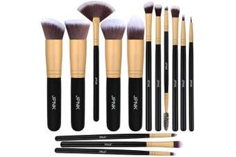 (Golden) - JPNK Synthetic Makeup Brush Set Cosmetics Foundation Blending Blush Eyeliner Face Powder Brush Makeup Brush Kit (Golden)