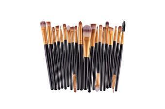 (Black+Gold) - AMarkUp 20 Pcs Pro Makeup Brushes Set Powder Foundation Eyeshadow Eyeliner Lip Cosmetic Conclear Eyebrow Brush (Black+Gold)