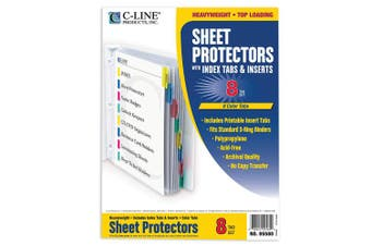 (8-Tab, Assorted Colors) - C-Line Products- Inc. CLI05580 Top Load Sheet Protector- 8 Tab- 8-.50in.x11in.- Assorted Colors