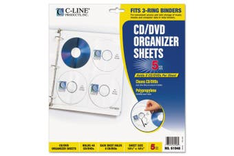 C-Line 61948 Two-Sided CD/DVD Refill Pages for Ring Binder Kit CLI-61938 Five per Pack