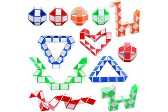 (Color a) - Sunshane 12 Pack 24 Blocks Magic Snake Cube, Mini Snake Speed Cubes, Twist Puzzle Toys for Kids Party Bag Fillers, Party Favours, Random Colour