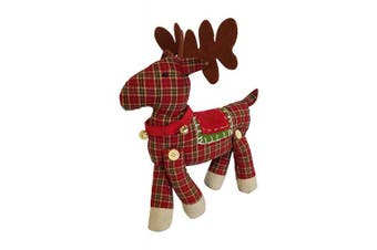 (Plaid) - 3Cats Designs Plush Reindeer Toy - Christmas Holiday Winter Decoration (Plaid)