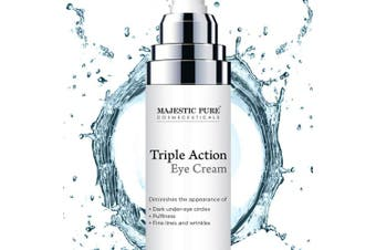 MajesticPure Triple Action Eye Cream - Diminishes the Appearance of Under Eye Dark Circles, Puffiness, Fine Lines and Wrinkles - Soothes and Rejuvenates with Arnica and Vitamin K - 30ml
