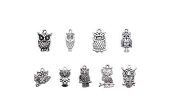 (Antique Silver) - Beadthoven 50pcs Tibetan Style Alloy Owl Pendants Vintage Mixed Shapes Charms for Halloween Jewellery Crafts Making Holiday Home Decoration