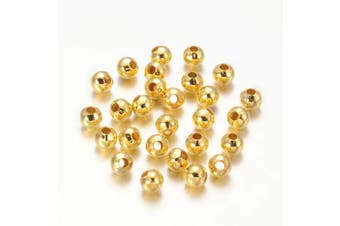 (5mm Round, Golden) - Craftdady 200Pcs Golden Iron Round Ball Spacer Beads 5mm Metal Smooth Rondelle Charm Loose Beads for DIY Jewellery Craft Making with 2mm Hole
