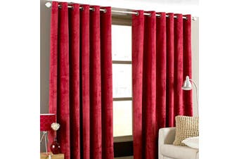 """(Red, 90 x 90 (229 x 229 cm)) - Riva Paoletti """"Imperial Eyelet Curtains, Red, 229 x 229 cm"""