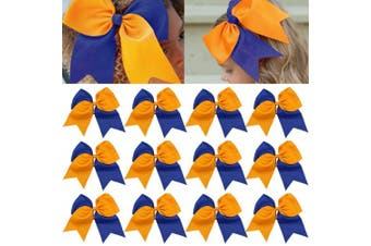 (12-Yellow/Blue) - 12 Pcs Large Cheer Bows 20cm Bulk Hair Bow Accessories with Ponytail Holder for Girls High School College Cheerleading