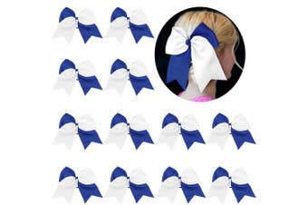 (12-Blue/white) - 20cm Large Cheer Bows Ponytail Holder 12PCS Girls Elastic Hair Ties Navy White Accessories for women youth toddler football Competition Sports