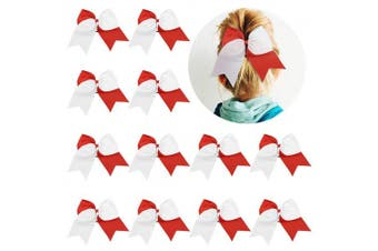 (12-Red/white) - 12 Pcs Large Cheer Bows 20cm Bulk Hair Bow Accessories with Ponytail Holder for Girls High School College Cheerleading