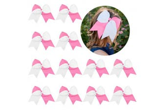 (12-Pink/white) - 12 Pcs Large Cheer Bows 20cm Bulk Hair Bow Accessories with Ponytail Holder for Girls High School College Cheerleading