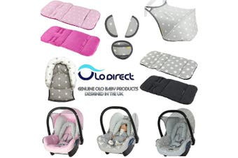 (Pink & grey cats / pink) - Reversible Cotton & Minky Pram Insert, Liner Covers 5pt Universal (Pink & Grey Cats/Pink)