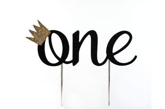 (Black) - Handmade 1st First Birthday Cake Topper Decoration - One with Crown - Made in USA with Double Sided Glitter Stock (black)