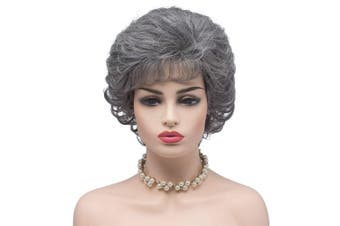 (60/2#-Silver Grey) - BESTUNG Ladies Silver Grey Short Curly Synthetic Full Hair Wigs Natural Wavy Fluffy Cosplay Grandma Costume Wig for Women (60/2#-Silver Grey)