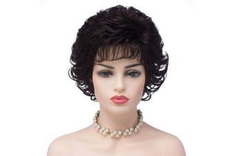 (2/33#-Dark Brown) - BESTUNG Ladies Dark Brown Short Curly Synthetic Full Hair Wigs Natural Wavy Fluffy Cosplay Costume Wig for Women (2/33#-Dark Brown)