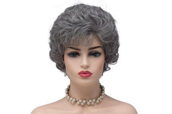 (60/2#-Silver Grey(527)) - BESTUNG Ladies Silver Grey Short Curly Synthetic Full Hair Wigs for Women Deep Wavy Fluffy Cosplay Costume Wig (60/2#-Silver Grey)