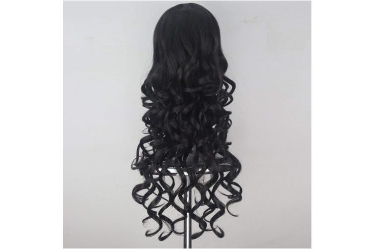 (Dark Brown) - Women Girl Synthetic Long Curly Hair Unisex Adult Lolita Punk Cosplay Wig Halloween Party Hair (Dark Brown)