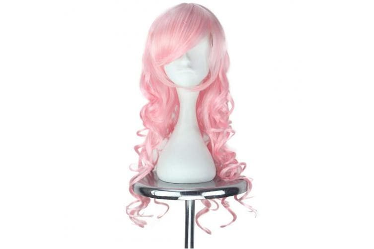 (Pink) - Women Girl Synthetic Long Curly Hair Unisex Adult Lolita Punk Cosplay Wig Halloween Party Hair (Pink)