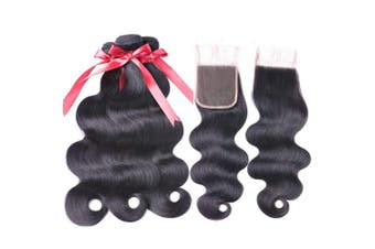 (12/14/16+25cm , Bundles with Closure) - Beaudiva Hair Body Wave Bundles with Closure Free Part (12 14 16+10 Closure) Brazilian Natural Black 100% Unprocessed Virgin Human Hair Extensions Body Wave 3 Bundles With 4×4 Lace Closure