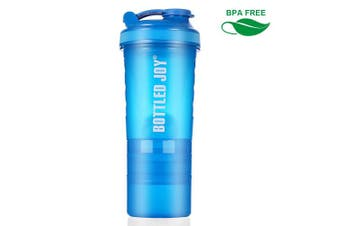 (600ml Blue) - BOTTLED JOY Protein Shakers bottles 600ml BPA Free Strong Durable Workout Gym Water Nutrition Shaker Bottle with Storage