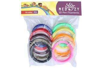 (4-multi) - 3D Filament - 3D Printer Filament 3D pen Refill - 3D Pen Filament Refills - PCL Filament 1.75mm - 3D Doodler Refills - 3D Printing Filaments - Eco Non-Toxic Odourless Kids Safe - 10 Colours 5m Each