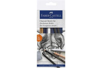 (Charcoal Sketch Set) - Faber-Castell Charcoal Sketch Set – 7 Piece Charcoal and Pastel Art Supplies Set