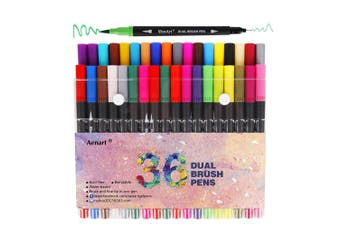 (Dual Tips) - Brush Marker Dual Tip Pens - 36 Colours Art Markers for Colouring Books - Fine Tip Pen and Brush Pen Great for Bullet Journal, Lettering and Calligraphy