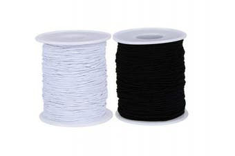 2 Roll 0.7 mm Elastic Cord Thread Beading Threads Stretch String Fabric Crafting Cord for Jewellery Making Craft Making DIY and Bracelet Beading Thread White and Black (100 m)