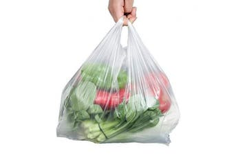 (24cm  x 36cm ) - Large Plastic Grocery Carry-out Bags 30 Micron Transparent T-shirts Carrier Bags for Supermarket Retail Shopping Household Food Two-sided Storage Bags 100ct size 24cm x 36cm