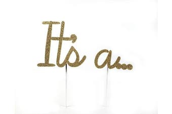 CMS Design Studio Handmade Gender Reveal Cake Topper Decoration - It's a. . . - Made in USA with Double Sided Gold Glitter Stock