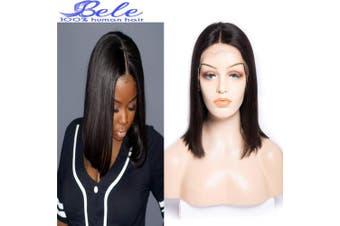 (36cm , BOB wig) - Bele Malaysian 10A Short BoB Straight Lace Frontal Wigs 150% Density Human Virgin Hair Silky Straight Wigs With Baby Hair Nature Colour 36cm