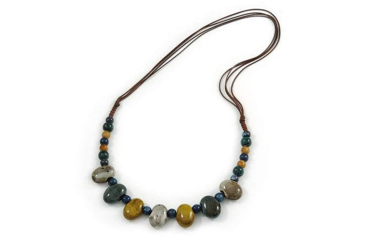 Avalaya Multi Ceramic Bead Brown Cord Necklace (Dusty Yellow, Grey, Blue) - 60cm to 80cm (Adjustable)