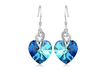 (Blue) - Sterling Silver Crystal Love Heart Hook Dangle Earrings