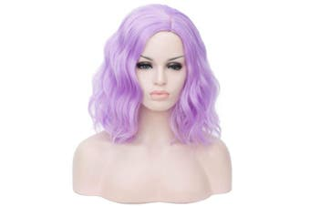 (purple) - BUFASHION 36cm Women Short Wavy Curly Purple Bob Wig Cosplay Halloween Synthetic Wigs 26 Colours Available