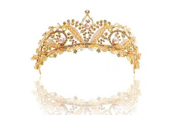 (Gold) - Barode Bride Wedding Crowns Baroque Rhinestones Leaves Tiaras Pearl Crystal Prom Queen Crowns for Women and Girls