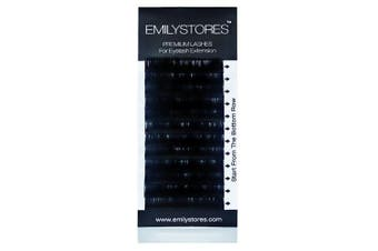 (17MM) - EMILYSTORES Eyelash Extensions 0.07mm Thickness D Curl Length 17mm Silk Mink Fake Eye Lashes In One Tray