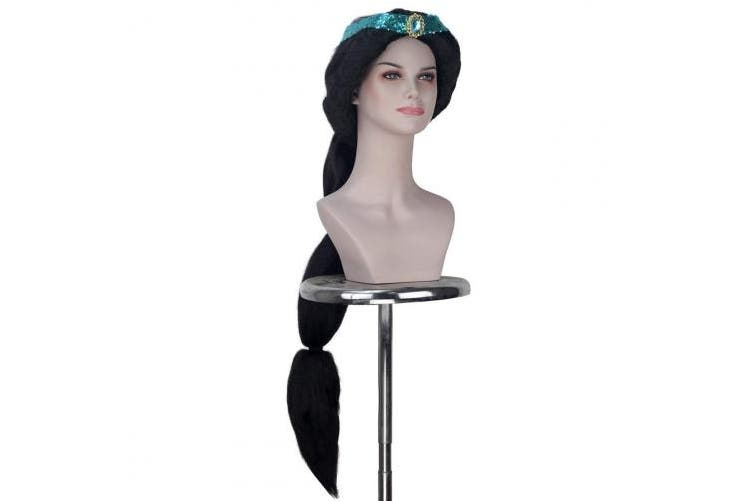 iCos Women Extra Long Fluffy Kinky Straight Hair Princess Black Colour Halloween Cosplay Costume Wig