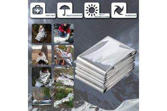 (B Silver 2pcs) - BINHAI Emergency Thermal Blankets Foil Blanket Survival Reflective Thermal First Aid Foil Blanket 130cm x 210cm (2-Piece)