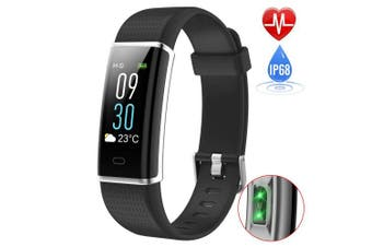 (130C-Black) - Fitness Tracker with Heart Rate Monitor, iPosible Colour Screen Activity Tracker Fitness Watch Waterproof IP68 Smart Bracelet Sleep Monitor Pedometer Watch Step Counter Call SNS Vibration for Women Men Kids Compatible with iPhone Android