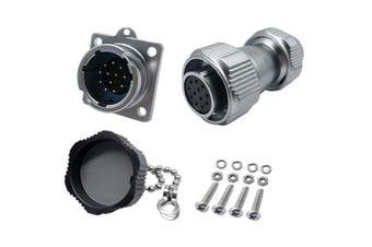 (12 Pin) - CERRXIAN Power Metal Male Plug to Female Socket Rotation Lock Outdoor Waterproof Aviation Connector for AC DC Signal LED Lighting Equipments (12 Pin)