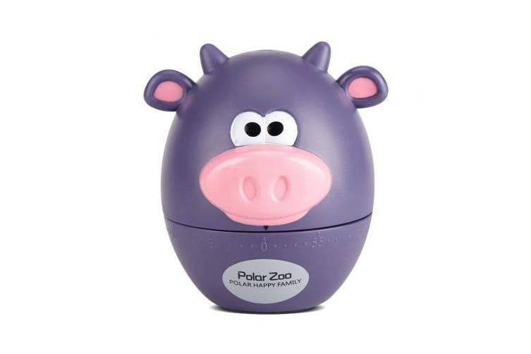 (Purple Cattle) - Cooking Timer, Cute Cartoon Kitchen Timer Mechanical 55 Minutes Cooking Supplies Simple Operation Big Digits Loud Alarm(Purple Cattle)