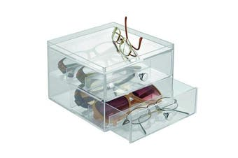 InterDesign Drawers Storage Box with Drawers, Compact Sunglass Storage for Countertops or Wardrobes, Sturdy Plastic, Clear
