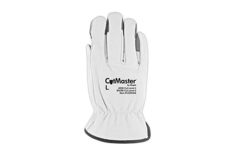 (Medium) - Magid Glove & Safety 1255KGS-L CutMaster Lined Leather Driver Glove with Keprotec Grip Strips Cut Level 4